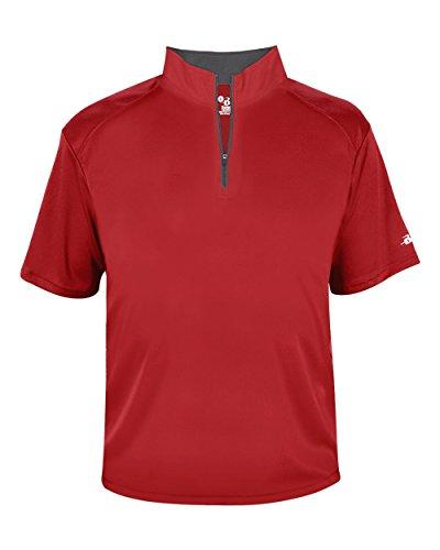 Zip Windbreaker (Red Adult 2XL Short Sleeve 1/4 Zip Pullover Wicking Sports Windbreaker Jacket)