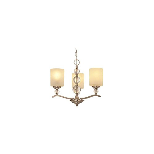 Hampton Bay Laurel Hill 3-Light Brushed Nickel Chandelier with Opal Glass Shades and Glass Ball ()