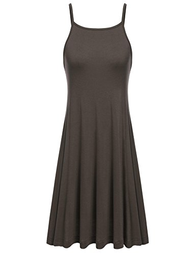 Tinkwell Women Round Neck Sleeveless Backless Beach Tank Dress, Dark Brown, L - Dark Brown Slip