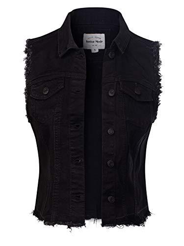 Denim Lace And - Design by Olivia Women's Frayed Hem Casual Hi-Low Pocket Denim Vest Black S