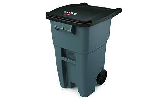 Rubbermaid Commercial Brute Rollout Container, Square, Plastic, 50 Gallons, Gray (FG9W2700GRAY)