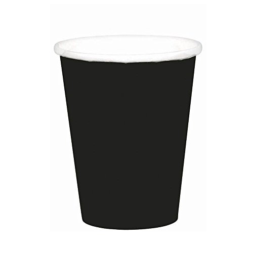Jet Black Paper Cups | 9 oz. | Pack of 8 | Party Supply -