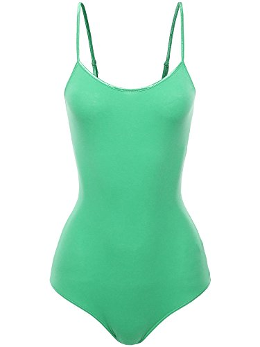 - Awesome21 Solid Crew Neck Adjustable Spaghetti Strap Bodysuit Mint Size S