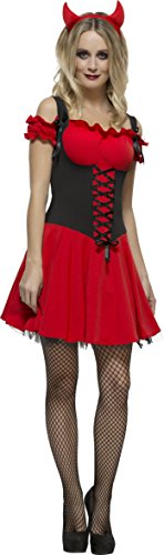Smiffy's Women's Fever Wicked Devil Costume, Dress, Attached Underskirt and Horns, Halloween, Fever, Size 14-16, (Baby Devil Costume)