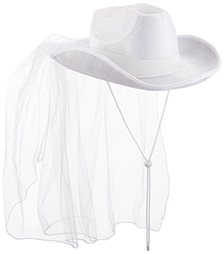 Beistle 60739 Western Bride's Hat, One Size Fits Most, White, 1 Piece Pack ()
