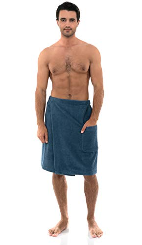 TowelSelections Men's Wrap, Shower & Bath Terry Towel with Snaps Small/Large Stellar Blue