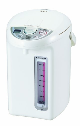 Tiger PDN-A50U-W Electric Water Boiler and Warmer, White, 5.0-Liter