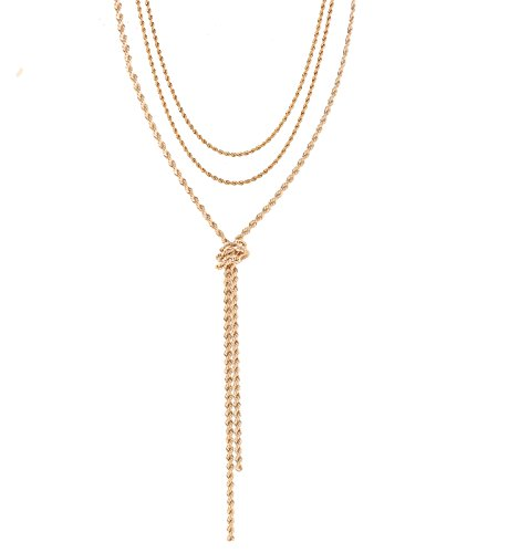 Gold Wrap Necklace (VOGUEKNOCK Multi Layers Necklace Double Rows Twist Chain Choke with Long Y Knotted Necklace 1 set-Triple Ways Using (gold))