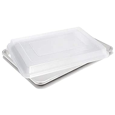 Aluminum Quarter Size Baking Sheet Pans with Lids and Custom Dough Scrapers, 9.5 Inch by 13 Inch, 2-Pack