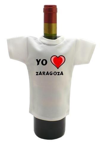 Camiseta blanca para botella de vino con Amo Zaragoza (ciudad / asentamiento)