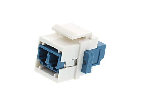 Networx Fiber Optic Keystone Coupler - LC to LC Singlemode Duplex - White