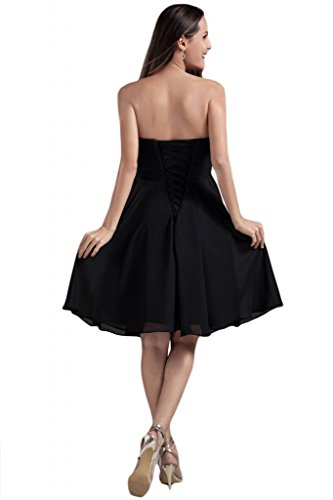 sunvary Vintage Stretch Satén una línea Prom Pageant vestidos para mujer Nuevo Elegante negro