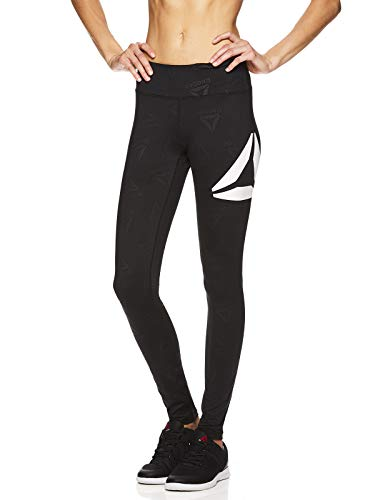 Reebok Women's Leggings Full Length Performance Compression Pants - Athletic Workout Leggings for Women for Gym & Sports - Classic Delta Black, Small (Reebok Women Compression Shirt)