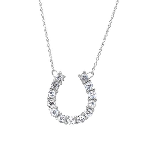 1 ct Created White Sapphire Horseshoe Necklace in 10K White Gold by Finecraft
