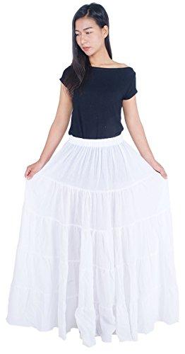 omen's Cotton Long Ruffle Full Circle Long Skirts Maxi Skirt One Size White ()