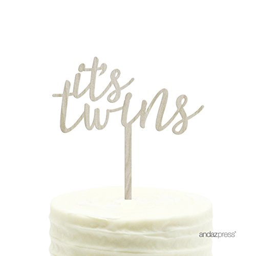 Andaz Press Baby Shower Wood Cake Toppers, It's Twins, 1-Pack ()