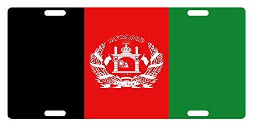 License Plate Covers Afghanistan Flag Afghan Emblem Iii Personalized Novelty, Custom Decorative Metal Sign Front Car Tag for US Vehicles 12 x 6 Inch