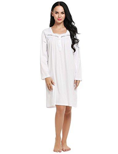 Ekouaer Sleepshirt Womens Long Nightgown Cotton Sleepwear Loungewear Nighty S-XXL