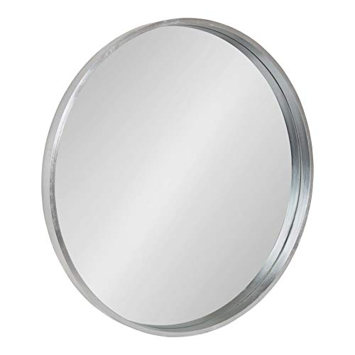 Kate and Laurel Travis Round Wall Mirror with Wood Frame, 25.6-inch Diameter, -