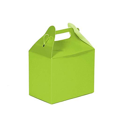 (24CT (2 Dozen) Biodegradable Kraft/Craft Favor Treat Gable Boxes, Gift Boxes (Lime Green, Medium))