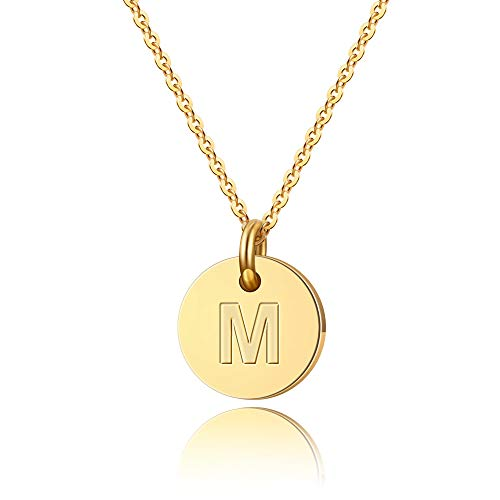 Turandoss Initial M Necklace Gifts for Girls - 14K Gold Filled Disc Initial Necklace for Women, Tiny Initial Necklace for Girls Teens Baby, Disc Initial Necklace Best for Women Girl
