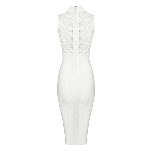 Bandage Dress Women's Lace Sexy Bodycon Bianco Midi Sleeveless Hlbandage YBHwc