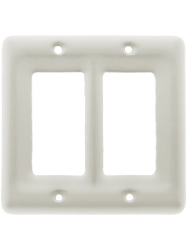 - White Porcelain Double Gfi Cover Plate