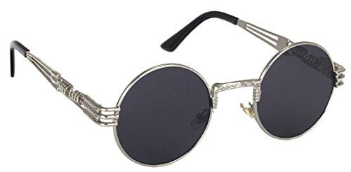 WebDeals - Round Circle Metal Sunglasses Vintage Steampunk Bold Frame Design (Silver, - Glasses Goth