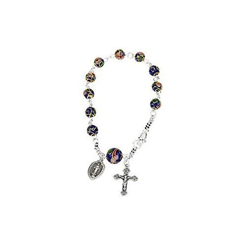 .925 Sterling Silver Cobalt Cloisonne Beads Rosary Bracelet, 7.5''