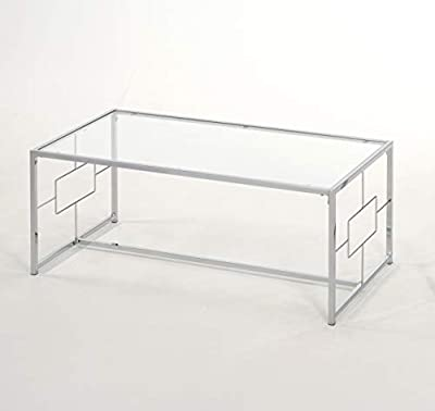 "44"" W Chrome Finish/Glass Top Metal Frame Cocktail Coffee Table with Square Designs"
