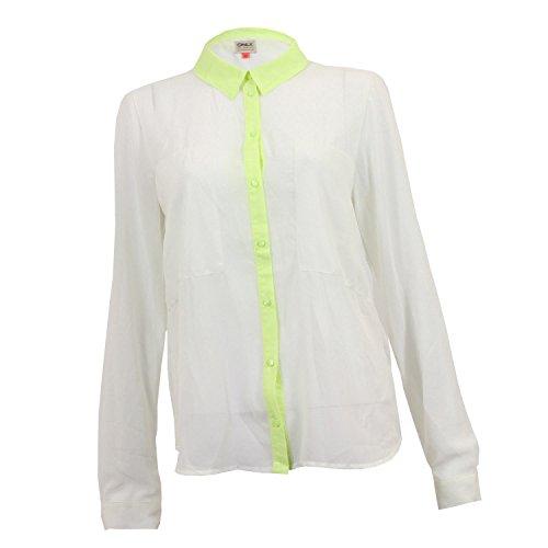 Chemisier/chemise à manches longues Only pour femme en blanc cassé avec bordures vert citron
