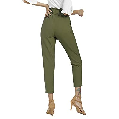 Freeprance Women's Pants Casual Trouser Paper Bag Pants Elastic Waist Slim Pockets at Women's Clothing store