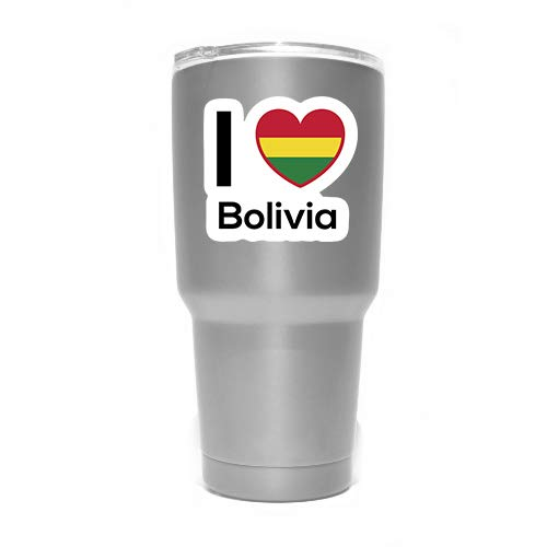 Love Bolivia Flag Decal Sticker Home Pride Travel Car Truck Van Bumper Window Laptop Cup Wall - Two 3 Inch Decals - MKS0189