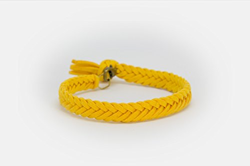 LoilJ Essential Oil Diffusing Bracelet - Thick Braided 8in Gold Yellow