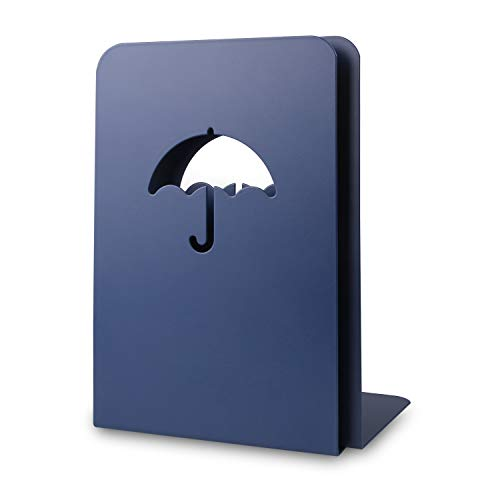 Eliseo Bookends Blue, Non Skid 8 Inch Tall Heavy Duty Metal Book Ends Supports Umbrella Decorative for Shelves Desk Office School; Heavey Books, Children Books, Magazines Holder