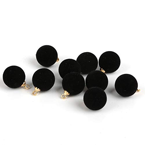 Plush Fur Covered Ball Beads Charms DIY Pompom Beads Pendant for Jewelry Making Necklace Bracelet Earring ()