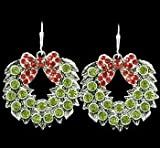 FTH Christmas Red, & Green Rhinestone Christmas Wreath Earrrings-Approximately 1 inch long & 1 inch wide. Mailed in a Gift Box -Celebrate Christmas with thise Fun Earringsce!!!They Sparkle!!!