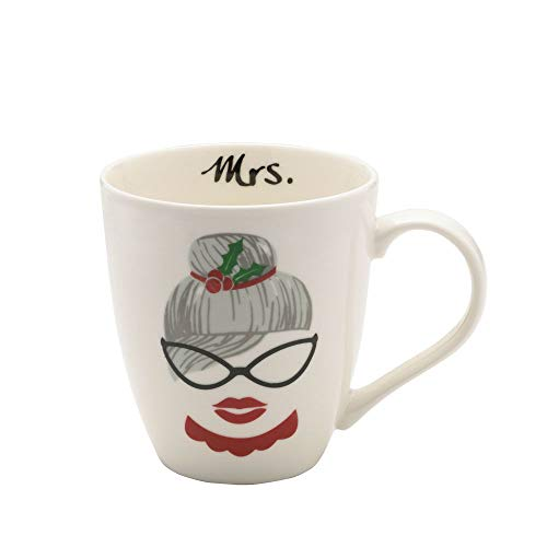(Pfaltzgraff Mrs Claus with Bun and Glasses Holiday Large Coffee Mug - 18 Ounce)