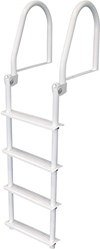 3 Step Flip Up Dock Ladder, White Galv - Jif Marine