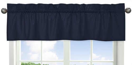 Solid Navy Blue Window Treatment Valance for Space Galaxy Bedding Collection