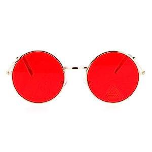 SA106 Retro Vintage Flat Color Circle Round Lens Sunglasses Gold Red