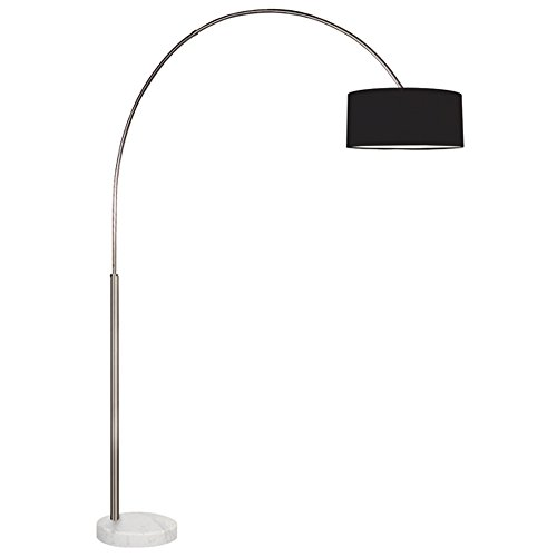 Sonneman Arc Satin Nickel Floor Lamp with Black Shade (Compact Nickel Satin)