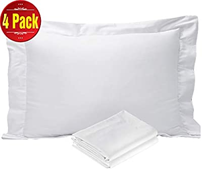 Niagara Sleep Solution 4 Pack Pillow Protectors Covers Cases White Cotton Sateen