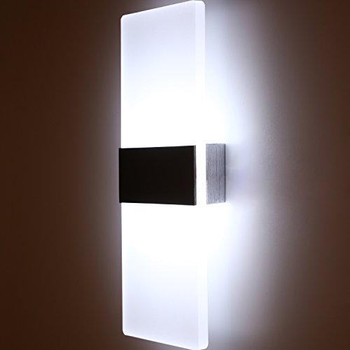 Topmo Modern Acrylic 12w LED Wall Sconces Aluminum Lights Decorative Lamps Night Light for Pathway, Staircase, Bedroom, Balcony ,Drive Way,cold white 840LM(6000K)29114.8CM by topmo (Image #9)
