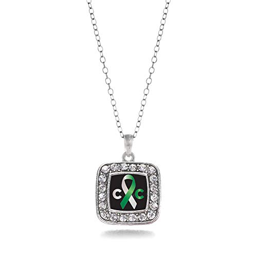 Inspired Silver - Cervical Cancer Support Charm Necklace for Women - Silver Square Charm 18 Inch Necklace with Cubic Zirconia Jewelry ()
