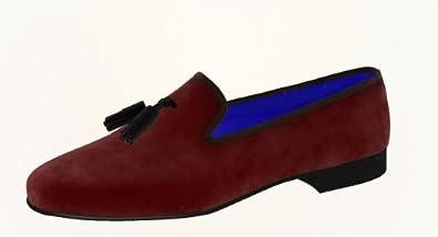 d7ecb4f8c097 Daniel   Lade - Made to Measure Burgundy Velvet Wellington Slippers with  black velvet Tassels