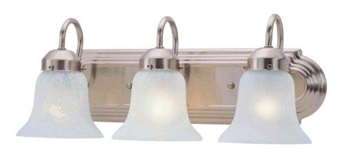 Livex Lighting 1073-91 Home Basics 3 Light Vanity Brushed Nickel with White Alabaster Glass