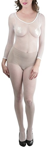 ToBeInStyle Women's Long Sleeve Fishnet Crotchless Bodystocking Color: White, One Size (Fishnet Sleeves White Long)