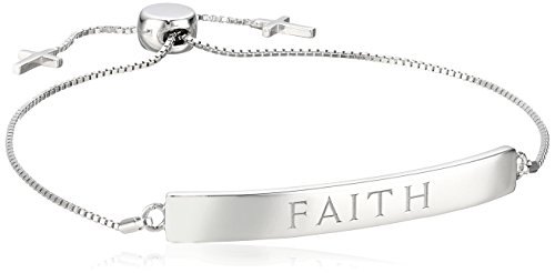 Sterling Silver Faith Adjustable Bracelet
