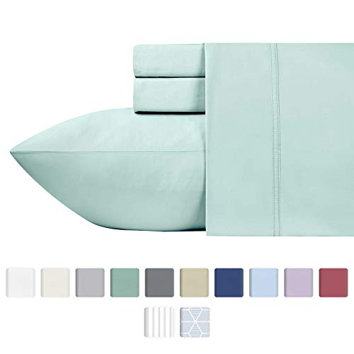 600-Thread-Count 100% Cotton Sateen Sheets King Size Set - 4-Piece Spa Blue Hotel Style Supreme bedding Sheets for Bed, Fits Mattress Upto 18'' Deep Pocket, Breathable, Cooling & Luxury Comfy ()